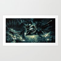 Godzilla vs Kingkong Blue Yellow Art Print