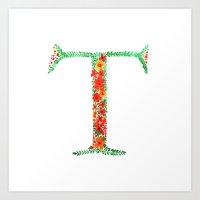 Floral Monogram Letter T Art Print
