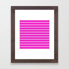 Horizontal Lines (White/Hot Magenta) Framed Art Print