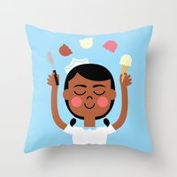 Throw Pillow featuring One Scoop or Two? by Mouki K. Butt