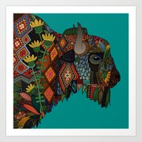 bison teal Art Print
