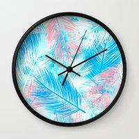 Bright pink blue watercolor palm tree leaf pattern Wall Clock