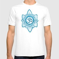 Ohm - Yoga Print Mens Fitted Tee White SMALL