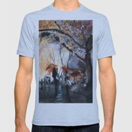 Autumn Rain - Watercolor Mens Fitted Tee Athletic Blue SMALL