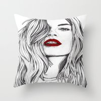 Girl with the Red Lips Throw Pillow