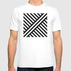 B/W two way diagonal stripes SMALL White Mens Fitted Tee