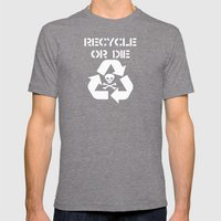 Recycle White Mens Fitted Tee Tri-Grey SMALL