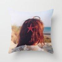 seaside girl Throw Pillow