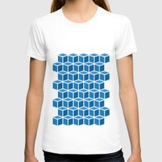 Blue Boxes Womens Fitted Tee White SMALL