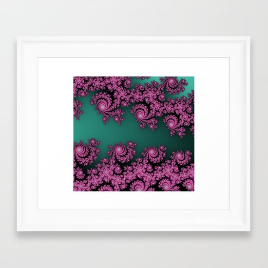 Fractal in Dark Pink and Green Framed Art Print