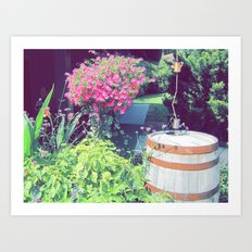 Barrel & Flowers Art Print
