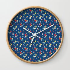 blossom ditsy in monaco blue Wall Clock