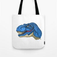 Felling Blue T-Rex - Dinosaur  Tote Bag