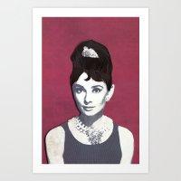 Audrey Hepburn Paper Art Print Art Print
