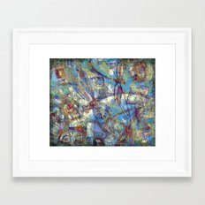 Dragonflies in blue Framed Art Print