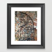 Iron gate, stone wall, St. Thomas USVI Framed Art Print