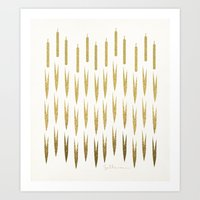 Gold Cattails Art Print