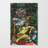 Mentalice and the Caterpillar Canvas Print