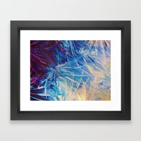 NIGHT FLOWERS - Beautiful Midnight Florals Feathers, Eggplant Lilac Periwinkle Cream Modern Abstract Framed Art Print