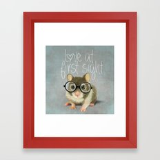 A small mouse with glasses on light blue-grey background Framed Art Print