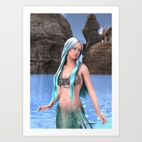 Fantasy Mermaid On Ocean… Art Print