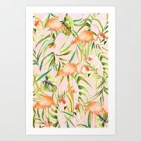 Sorbet Flamingo Palms Art Print