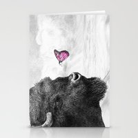 Bison and Butterfly Stationery Cards