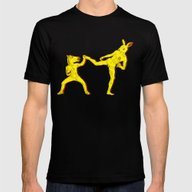 Horse-Dude Versus Kick-B… Mens Fitted Tee Black SMALL
