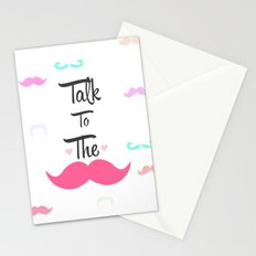 Funny Girly Talk To The Mustache Bright Pink Heart Stationery Cards