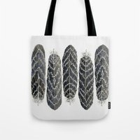 Black Stripe Feathers Tote Bag