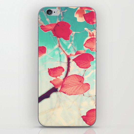 Our hearts are autumn leaves waiting to fall (Pink - Red fall leafs and brilliant retro blue sky) iPhone & iPod Skin