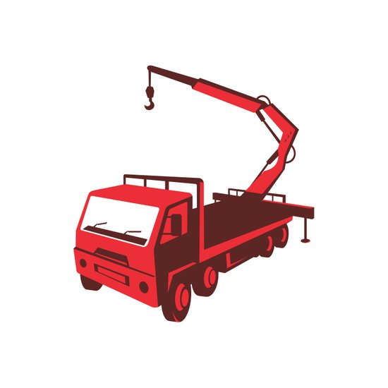 truck mounted crane cartage hoist retro Art Print