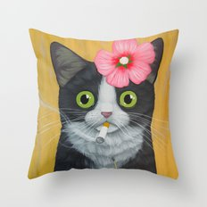 SMOKING KITTY Throw Pillow