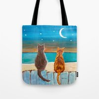 Cats On A Fence Tote Bag