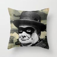 Throw Pillow featuring Churchill by FAMOUS WHEN DEAD