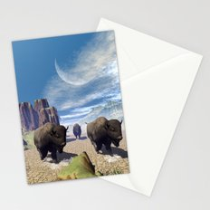 Awesome running bisons Stationery Cards