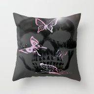 Pink Betterfly Skull Throw Pillow