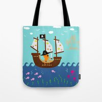 Little Captain Pirate Octopus Tote Bag