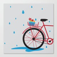 Bicycle & rain Canvas Print