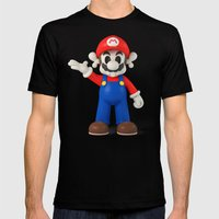 Skull Mario Mens Fitted Tee Black SMALL