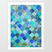 watercolor Art Prints featuring Cobalt Blue, Aqua & Gold Decorative Moroccan Tile Pattern by micklyn