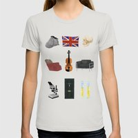 221B Baker Street Womens Fitted Tee Silver SMALL