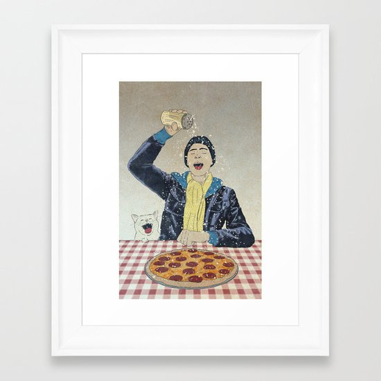 Make it snow... on my PIZZA! Framed Art Print
