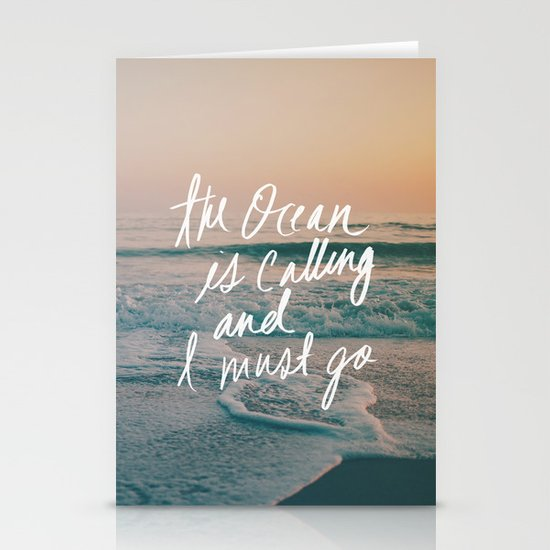 The Ocean is Calling by Laura Ruth and Leah Flores Stationery Card