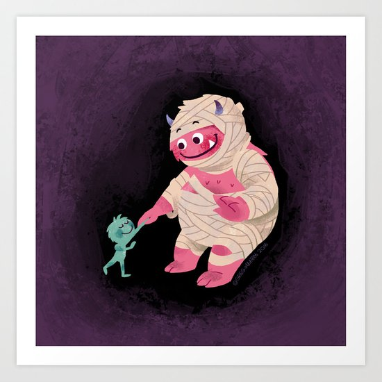 Sunday's Society6 | Wrapped up mummy Halloween monster art print