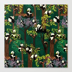 Both Species of Panda - Green Canvas Print