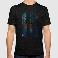 Winter Woods at Night Mens Fitted Tee Tri-Black SMALL