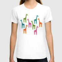 Giraffes Womens Fitted Tee White SMALL