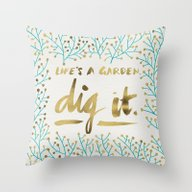 Throw Pillow featuring Dig It – Gold & Turquo… by Cat Coquillette