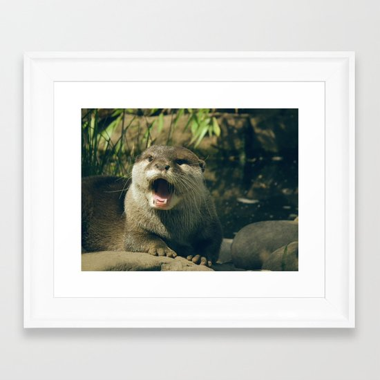 Otter - yawn Framed Art Print